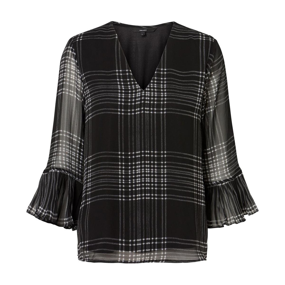Блузка с V-образным вырезом, длинными рукавами с воланами блузка в клетку с воланами и длинными рукавами check