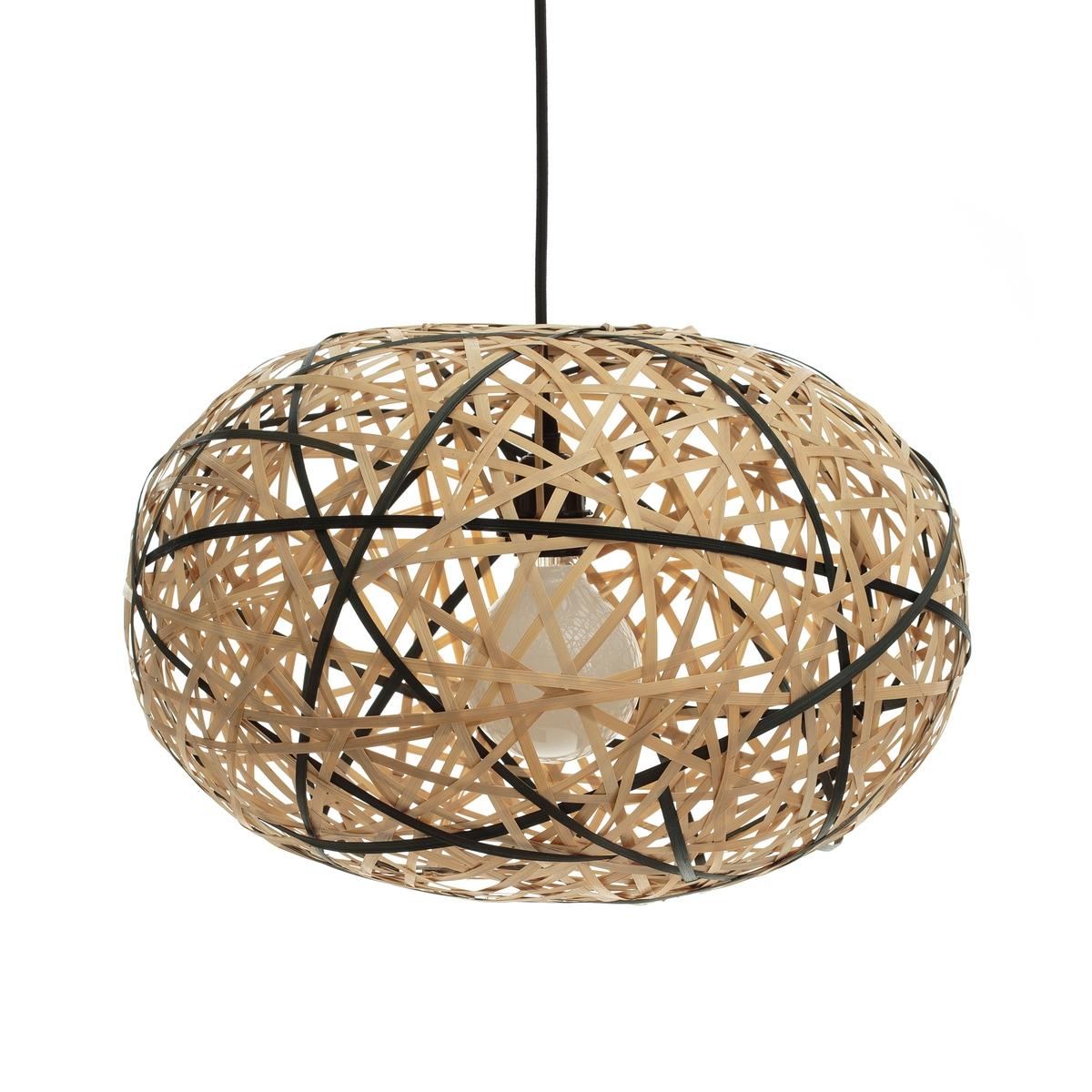 Светильник из бамбука натурального/черного цветов, ?45 см FaciendeСветильник Faciende. Выполненный из плетеных бамбуковых лиан, светильник создает красивый визуальный эффект сверху и снизу. Для патрона E27. Электрическая система продается на сайте. Размеры : ?45 x В.30 см.<br><br>Цвет: экрю/ черный