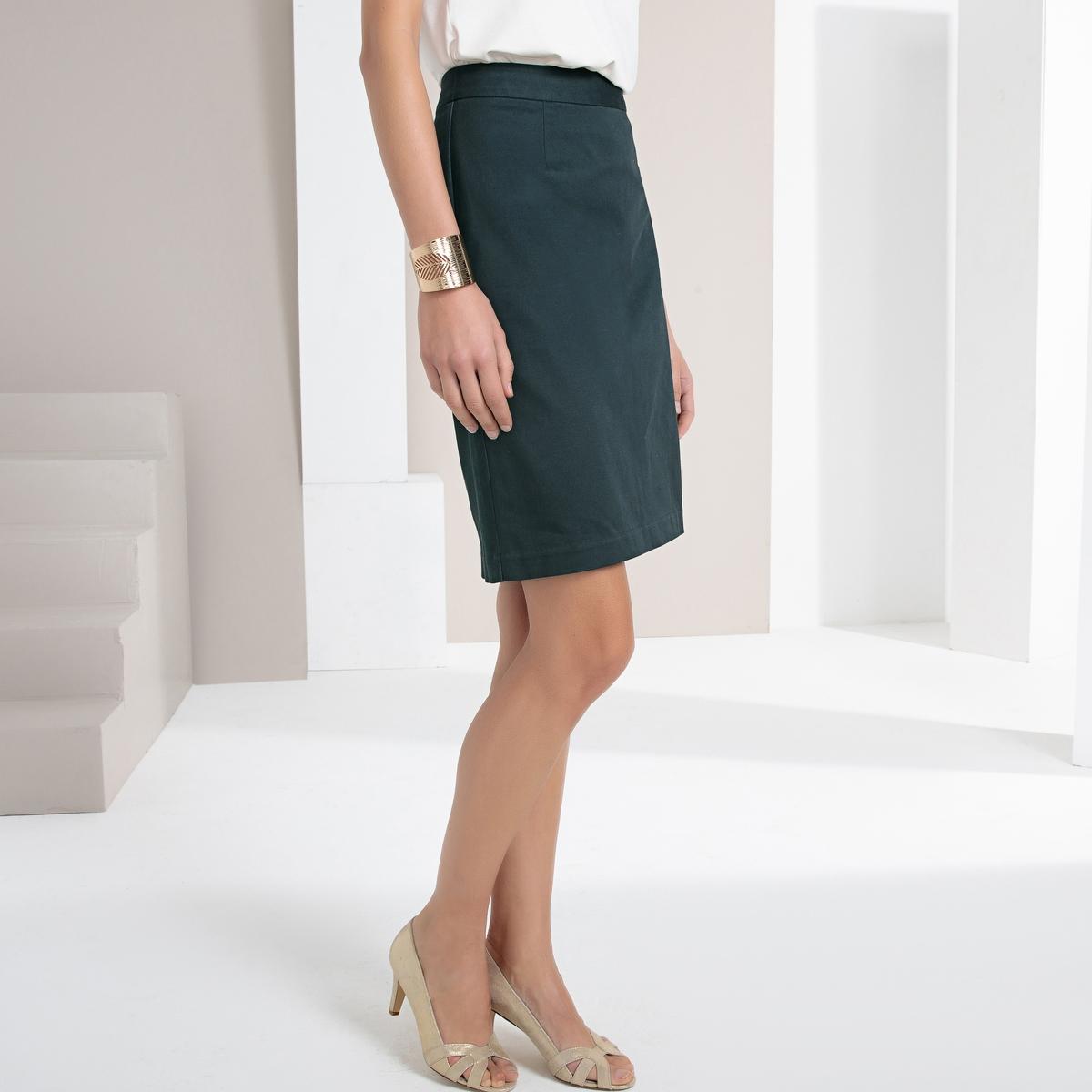Imagen principal de producto de Falda recta de satén de algodón stretch - Anne weyburn