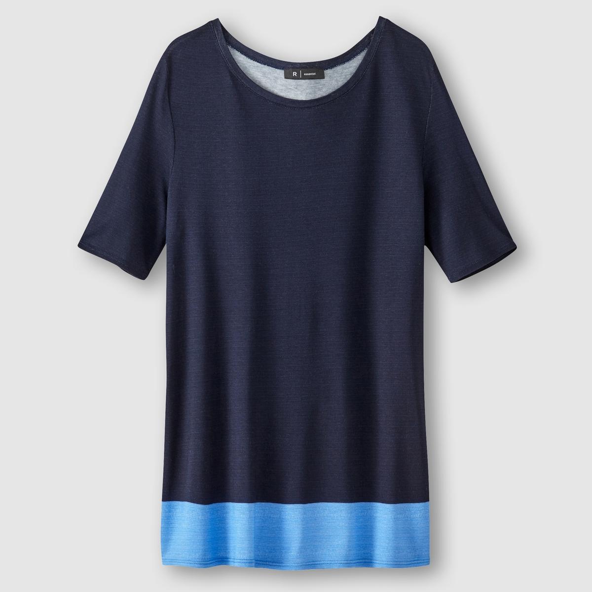 Футболка с короткими рукавами R essentielФутболка с рукавами по локоть R essentiel. Контрастная полоса снизу. Круглый вырез.             Состав и описание :  Материал : вискоза   Марка : R essentiel.<br><br>Цвет: темно-синий/ голубой,фуксия/оранжевый<br>Размер: 34/36 (FR) - 40/42 (RUS)