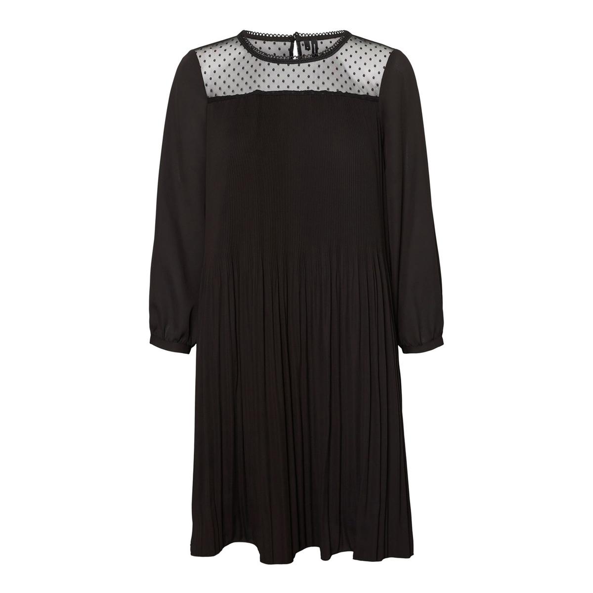 Платье La Redoute Плиссированное свободного покроя с отделкой выреза кружевом XS черный