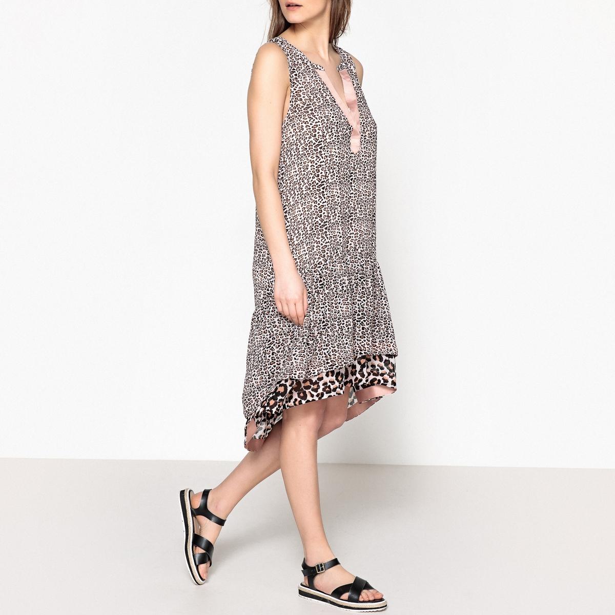 Платье без рукавов с леопардовым рисунком жакет с леопардовым рисунком