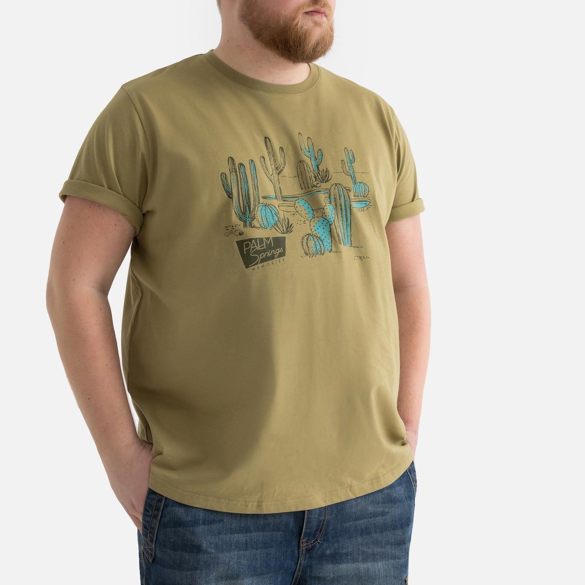 T-shirt de tamanhos grandes, gola redonda, estampado