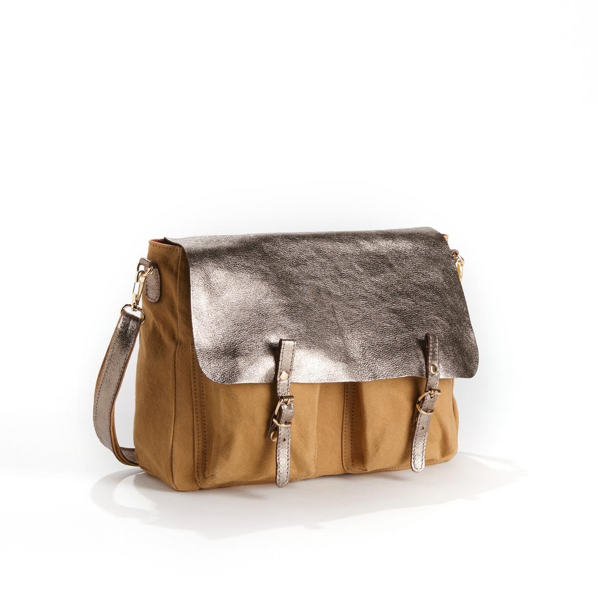 Сумка двусторонняя из кожи и ткани MAXI MATHSДвусторонняя сумка CRAIE  - модель MAXI MATHS CUIR TOILE с модулируемыми деталями из блестящей и лицевой кожи и ткани.Детали  •  Двусторонняя и модулируемая при помощи кнопок сумка-портфель •  Можно носить в руке, на плече или как рюкзак благодаря съемной ручке, плечевому ремню и кольцу •  Застежка на 2 кнопки со взаимозаменяемыми пряжками •  Карманы с клапанами •  2 небольших кармана с изнаночной стороны •  Размеры 35 x 27 x 10 см: большая модельСостав и уход    •  Овечья кожа •  Подкладка из хлопковой ткани  •  Следуйте советам по уходу, указанным на этикетке<br><br>Цвет: темно-бежевый