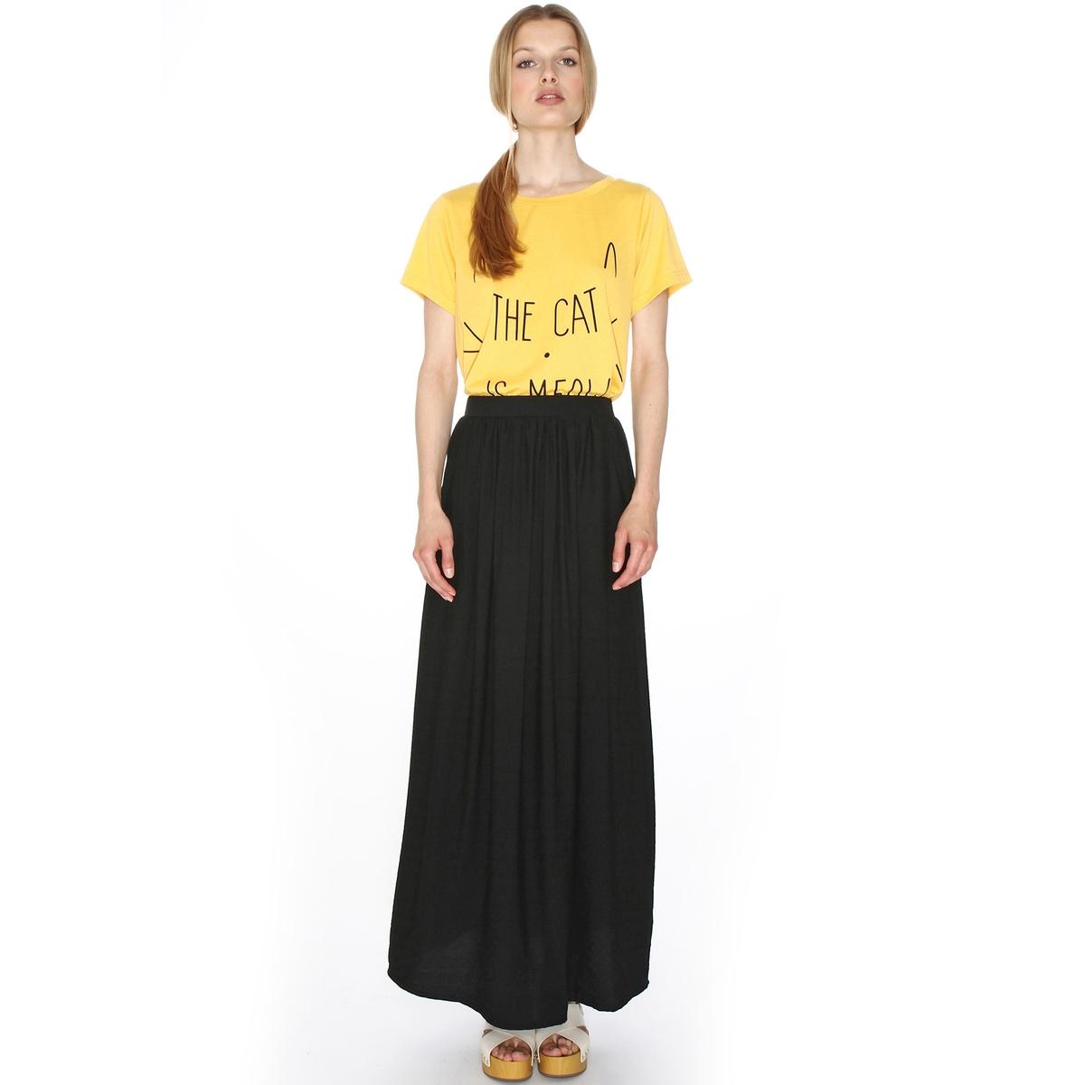 Юбка длинная расклешеннаяМатериал : 45% полиамида, 55% полиэстера  Рисунок : однотонная модель Длина юбки : короткая<br><br>Цвет: черный