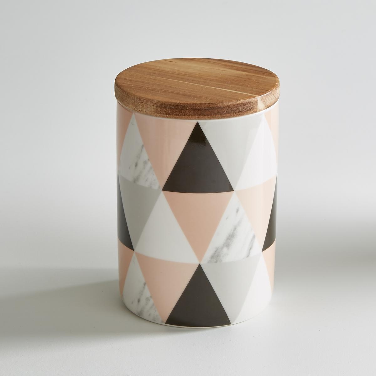 Горшок керамический с бамбуковой крышкойLa Redoute<br>Керамический горшок La redoute Int?rieurs с герметично прилегающей крышкой. Бамбуковая крышка с силиконовым ободом. Геометрический рисунок. Характеристики керамического горшка:- Керамический горшок - Бамбуковая крышка с силиконовым ободом - Диаметр: 11 см- Высота: 14 см- Объем: 760 мл- Не использовать в микроволновой печи и посудомоечной машине<br><br>Цвет: набивной рисунок<br>Размер: единый размер