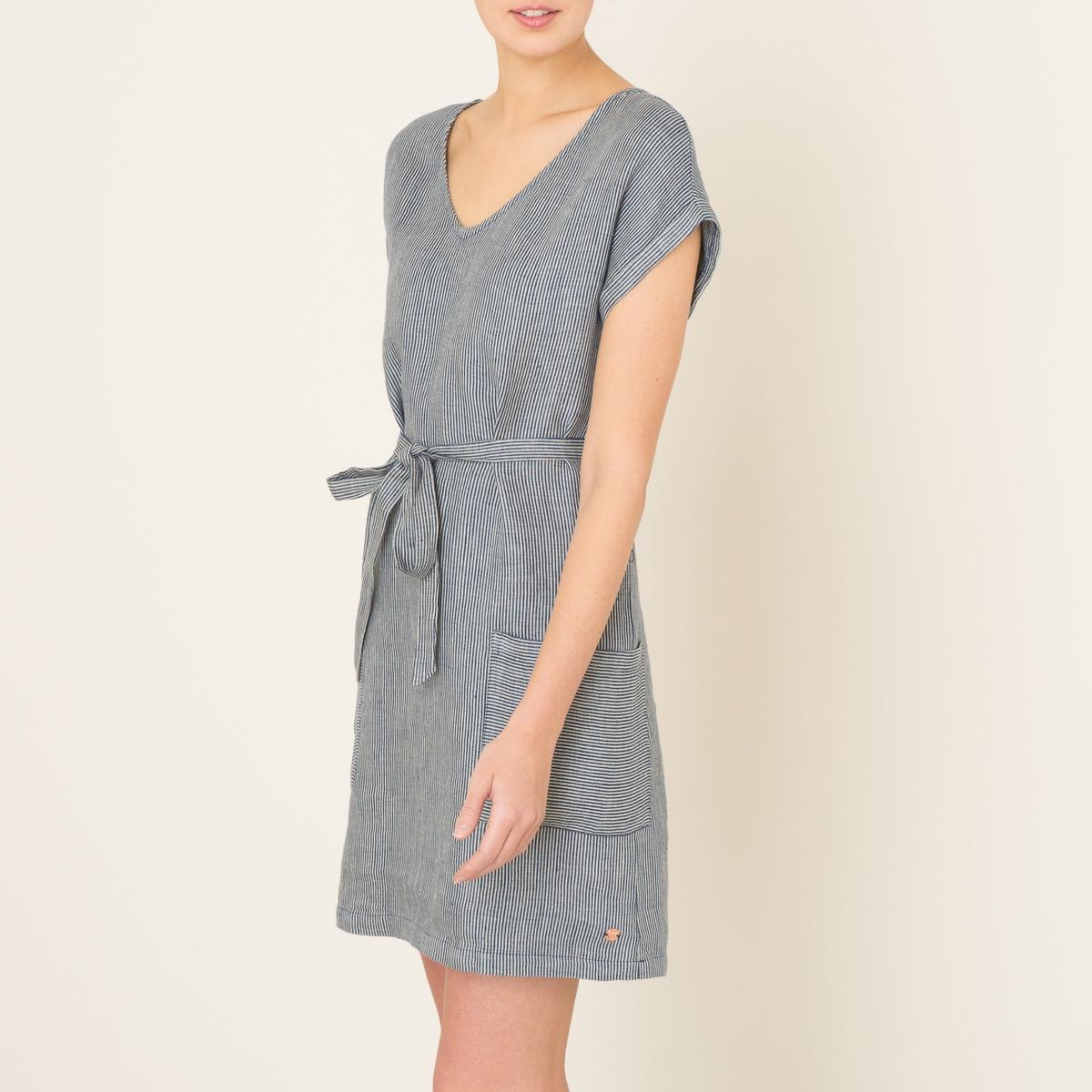 Платье льняное в полоскуСостав и описание    Материал : 100% лен   Марка : HARRIS WILSON<br><br>Цвет: темно-синий