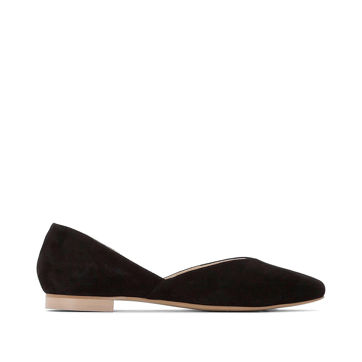 Балетки La Redoute Кожаные с заостренным мыском 36 черный туфли la redoute кожаные с открытым мыском и деталями золотистого цвета 41 черный