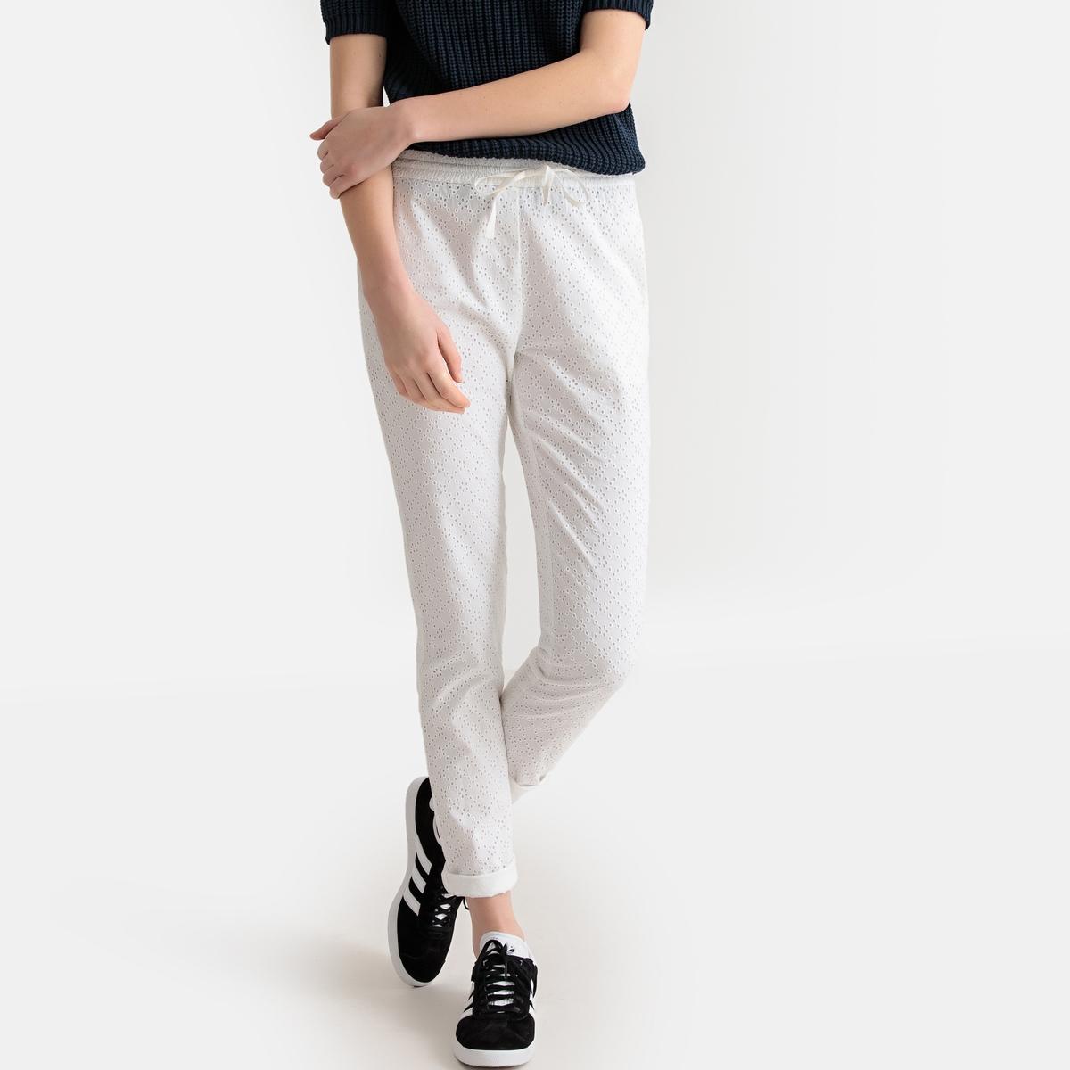 Брюки-дудочки La Redoute Из английской вышивки 34 (FR) - 40 (RUS) белый брюки la redoute узкие дудочки с жаккардовым рисунком 50 fr 56 rus черный