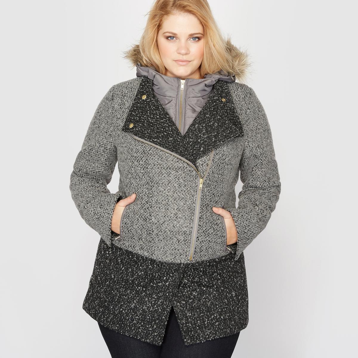 Пальто двухцветное с твидовым эффектом, с капюшоном