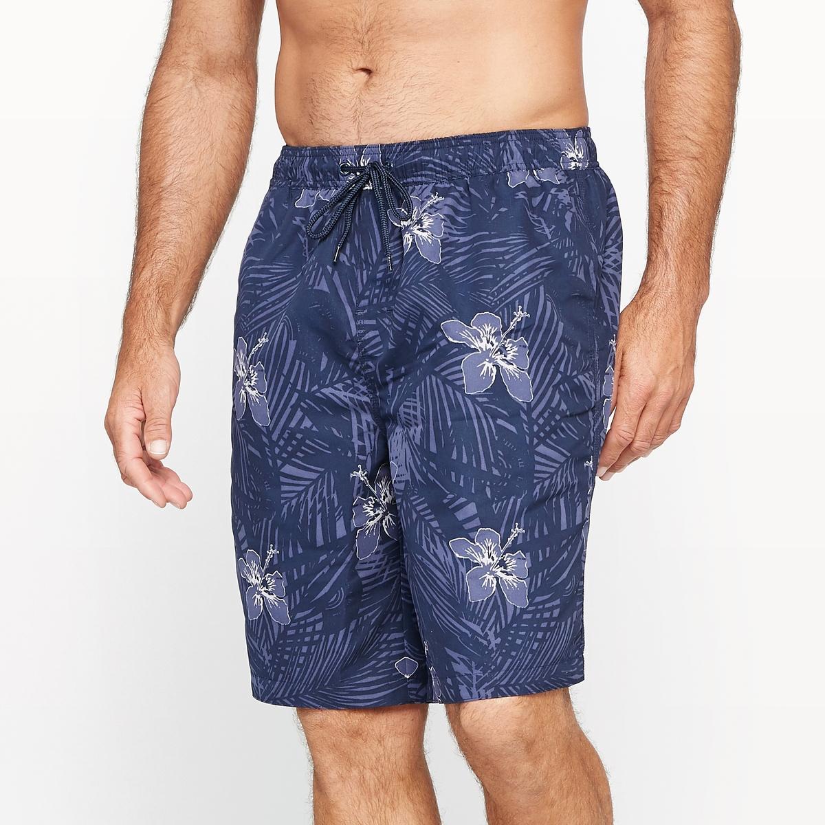 Плавки-боксеры с рисунком пальмовые листьяМатериал : ткань 100 % полиэстер, мягкая на ощупь .Длина до колена. Длина по внутр.шву 25 см.Марка : CASTALUNA FOR MEN.Уход : Машинная стирка при 30 °C.<br><br>Цвет: наб. рисунок синий<br>Размер: 46/48.66/68.62/64.54/56.50/52