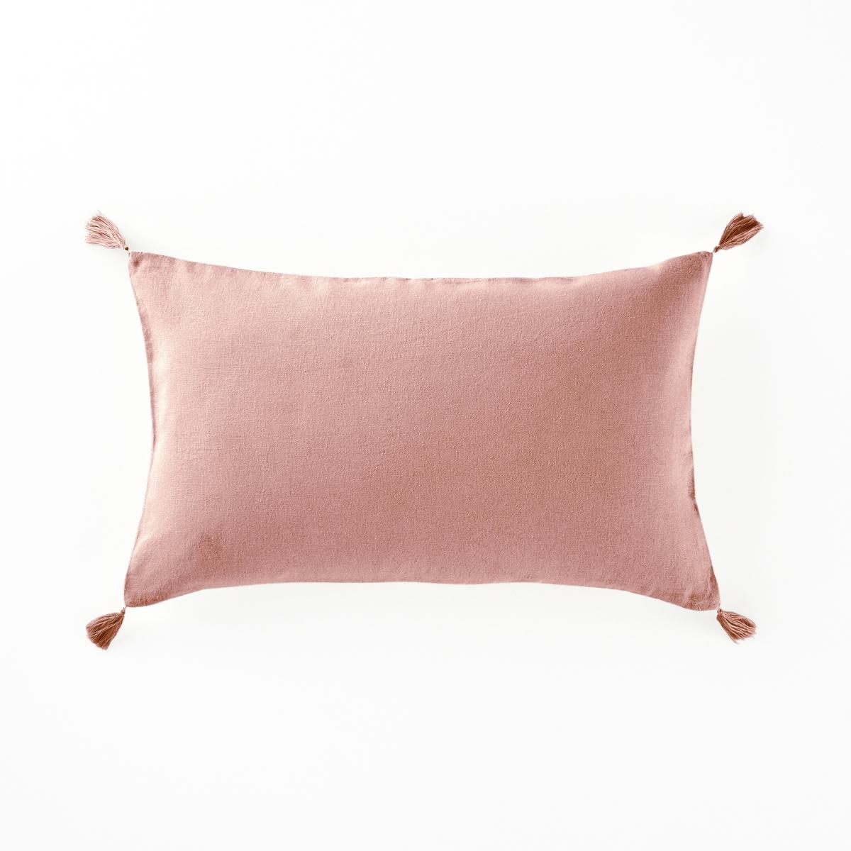 Чехол La Redoute На подушку из льна и вискозы ODORIE 50 x 30 см розовый брюки широкие 7 8 из льна и вискозы