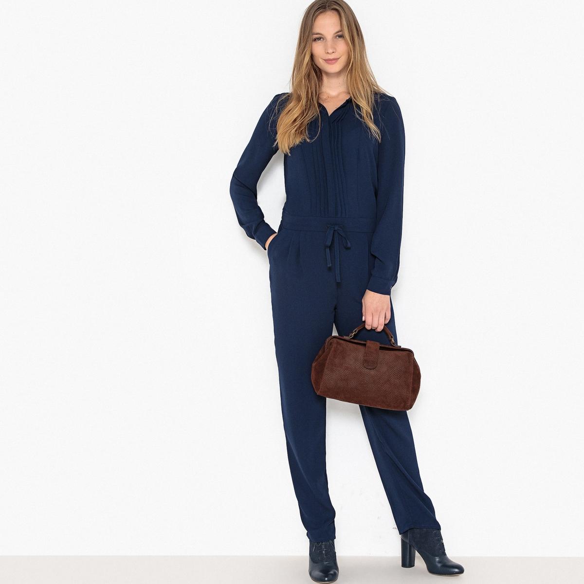 Комбинезон La Redoute С брюками с длинными рукавами 34 (FR) - 40 (RUS) синий комбинезон с брюками однотонный