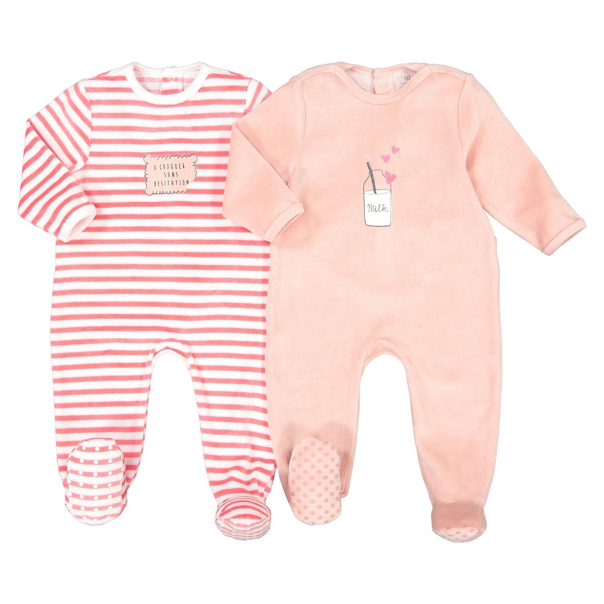 цена Пижамы La Redoute Из велюра мес - года 0 мес. - 50 см розовый