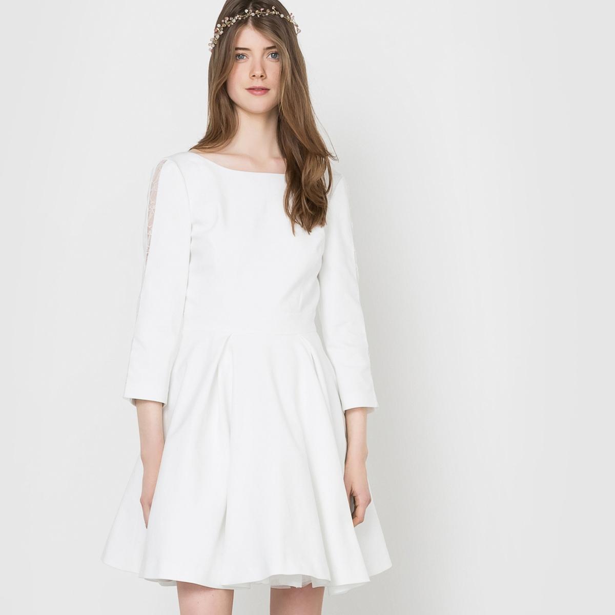 Платье свадебное с глубоким вырезом сзадиСостав и описание :Материал : 48% хлопка, 48% полиэстера, 4% эластана.Длина : 92 смМарка : MADEMOISELLE R.<br><br>Цвет: слоновая кость<br>Размер: 40 (FR) - 46 (RUS)
