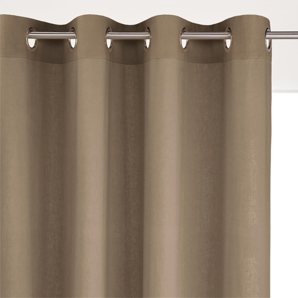 Штора La Redoute Из льна и вискозы с люверсами ODORIE 350 x 135 см каштановый брюки широкие 7 8 из льна и вискозы