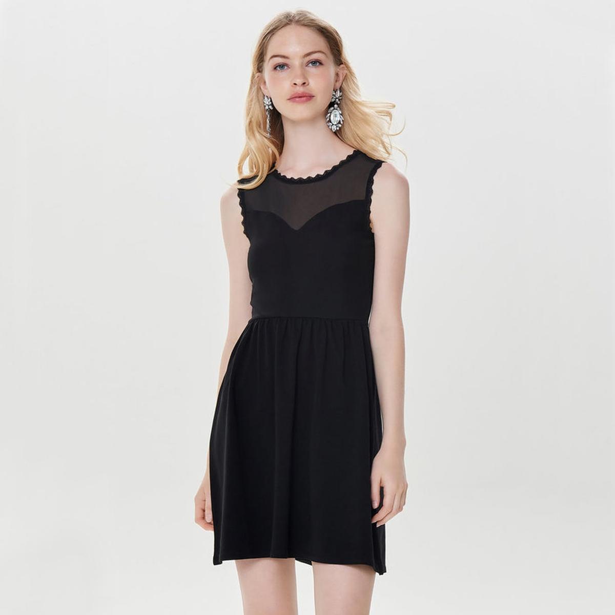 Платье без рукавов с вставкой в сетку