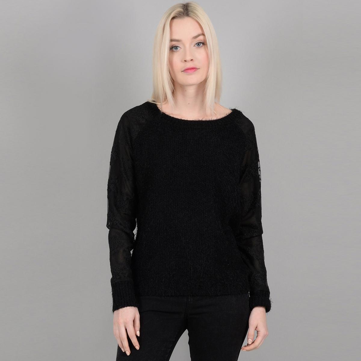 Пуловер La Redoute С круглым вырезом из тонкого трикотажа XS черный платье la redoute облегающее с открытыми плечами из тонкого трикотажа xs черный