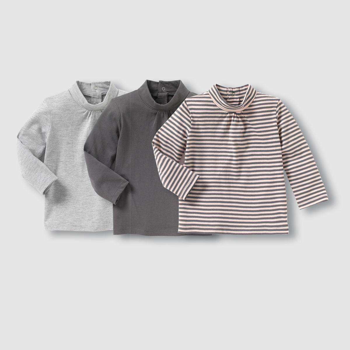 3 футболки с закатывающимся воротником 1 мес-3 лет