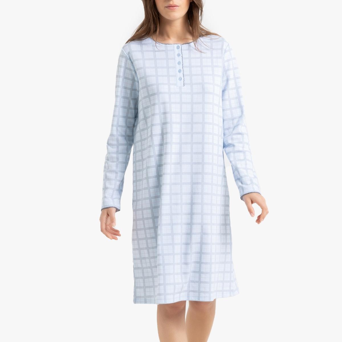 Ночная La Redoute Рубашка в клетку с длинными рукавами 34/36 (FR) - 40/42 (RUS) синий цена