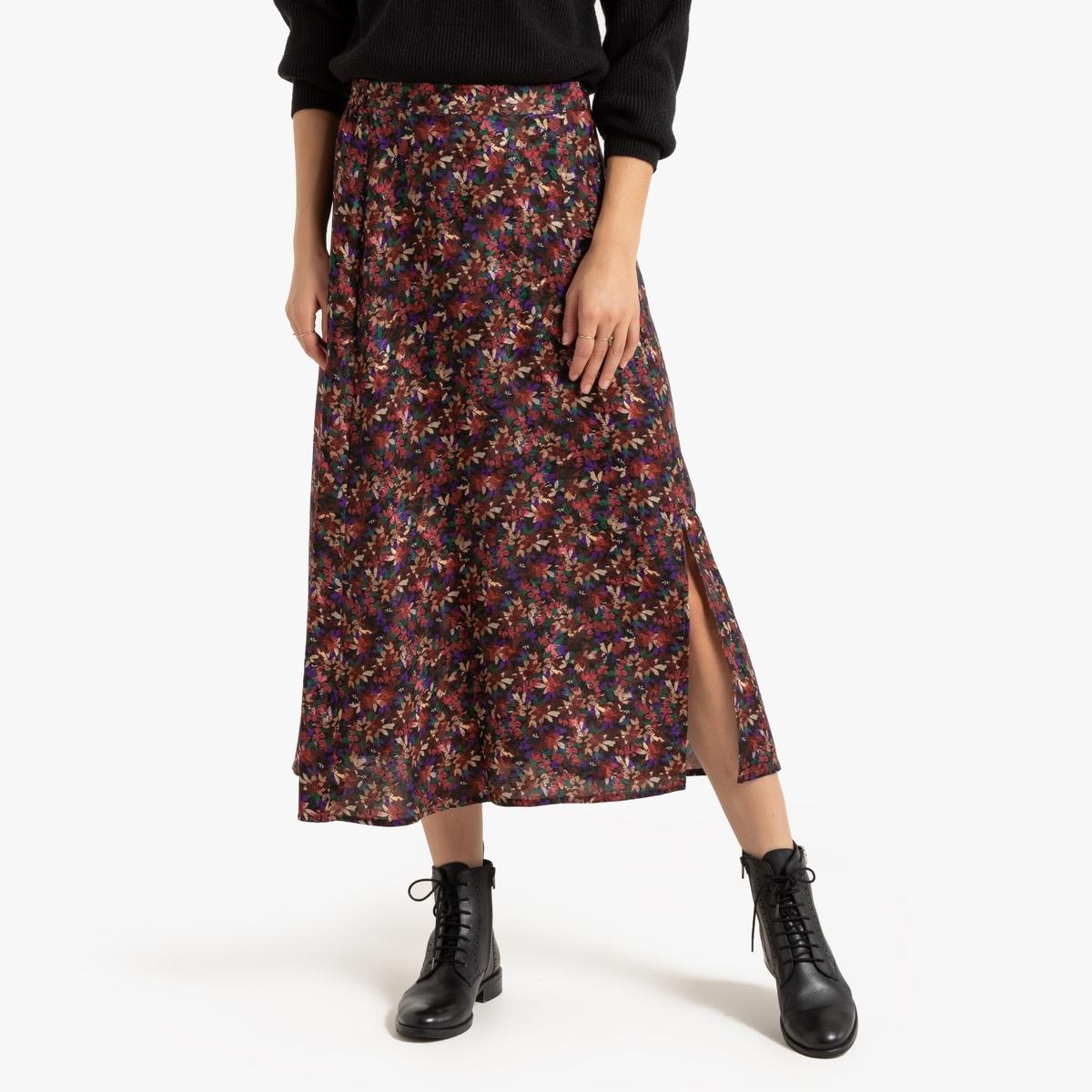Falda larga vaporosa con estampado de flores