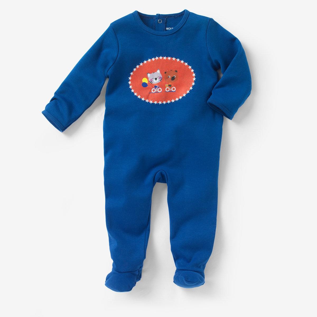 Пижама из хлопка интерлок MOUK, 0 месяцев - 3 годаПижама с носочками MOUK из трикотажа интерлок, 100% хлопка. Принт спереди. Клапан на кнопках и застежка на кнопки сзади для легкости надевания. Нескользящая подошва начиная с размера 74 см (12 месяцев), эластичные вставки сзади для лучшей поддержки.<br><br>Цвет: синий<br>Размер: 1 мес. - 54 см