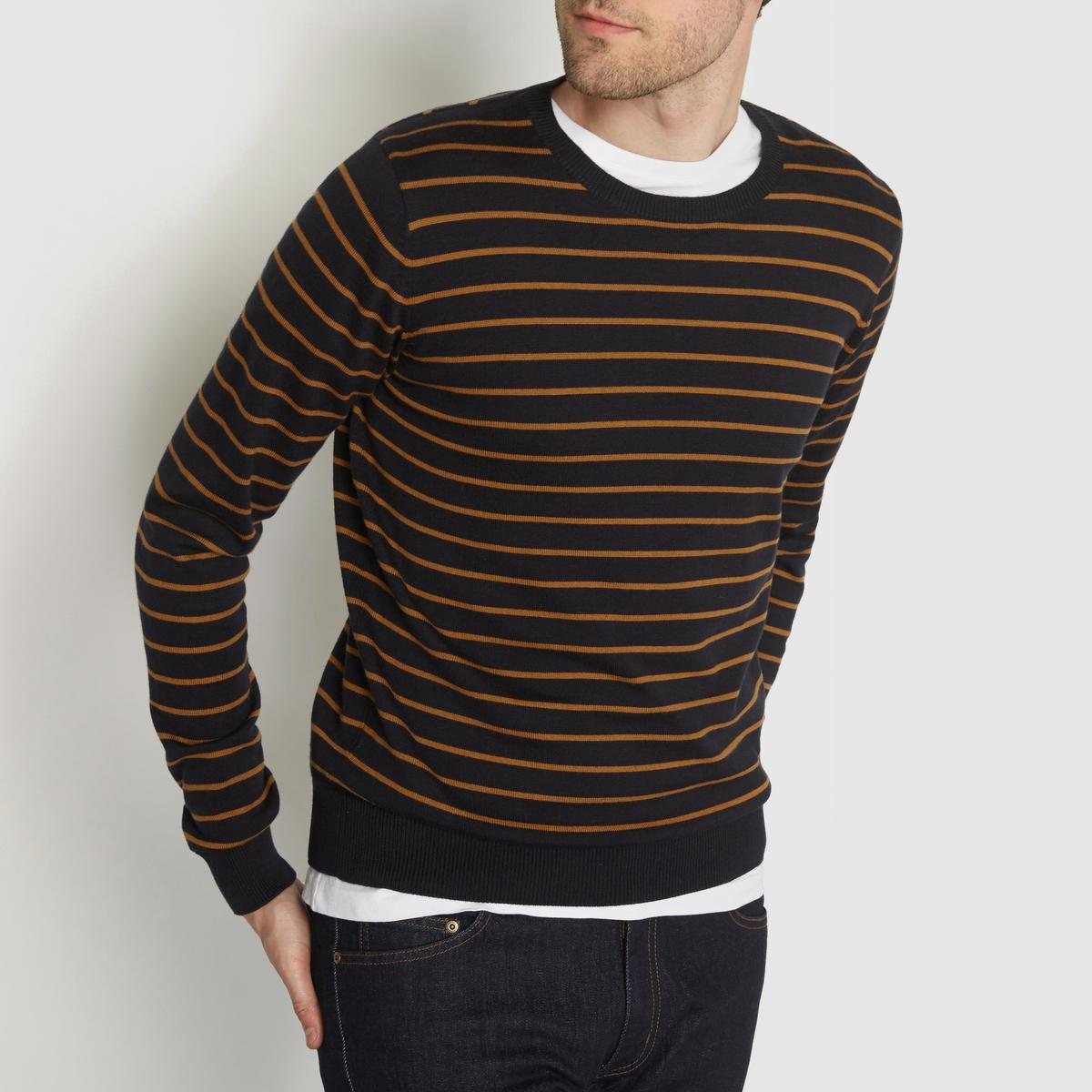 Пуловер в полоску 100% хлопокПуловер двухцветный в полоску с длинными рукавами. Прямой покрой, круглый вырез. Края низа и рукавов связаны в рубчик.Состав &amp; ДеталиМатериал : 100% хлопкаМарка : R essentiel.<br><br>Цвет: темно-синий в полоску/бежевый