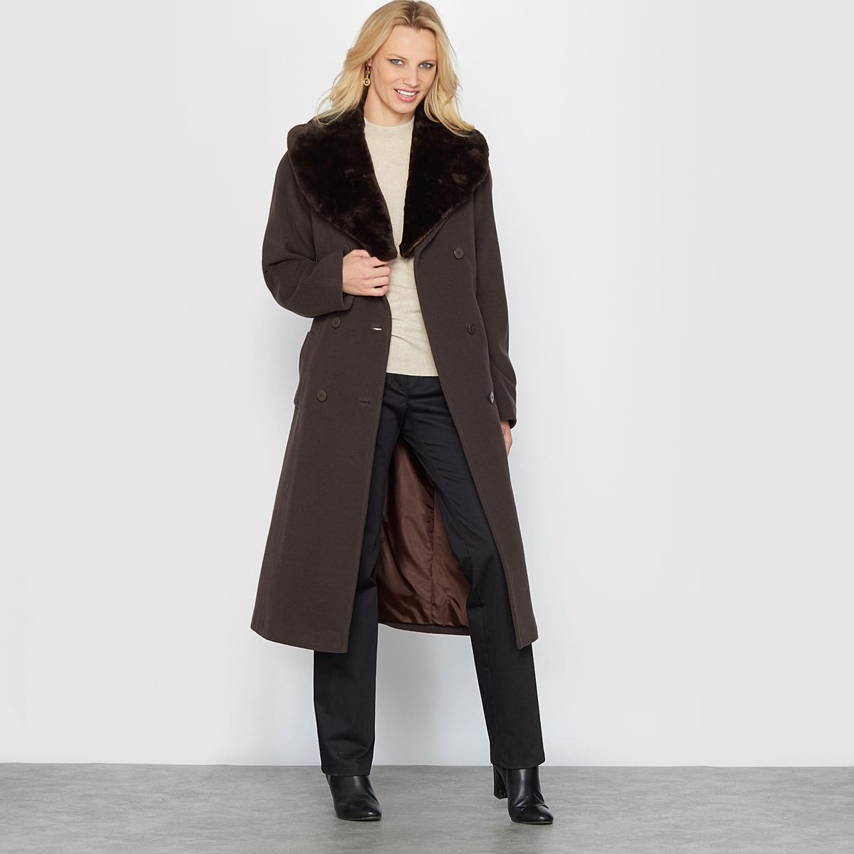 Пальто прямое из шерстиДлинное зимнее пальто, практичное и стильное, которое можно носить с воротником из искусственного меха или без него . Двубортная планка застежки. Модный пояс с завязками .Детали •  Длина  : удлиненная модель •  Воротник-поло, рубашечный • Застежка на пуговицыСостав и уход •  70% шерсти, 10% кашемира, 20% полиамида •  Подкладка : 100% полиэстер • Не стирать •  Любые растворитель / не отбеливать   •  Не использовать барабанную сушку •  Низкая температура глажки<br><br>Цвет: серый меланж/черный,темно-бежевый / шоколадный,черный/ черный<br>Размер: 38 (FR) - 44 (RUS).50 (FR) - 56 (RUS).50 (FR) - 56 (RUS).44 (FR) - 50 (RUS)