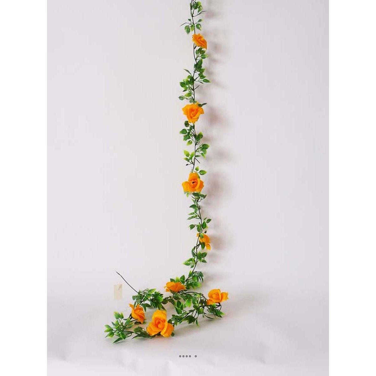 Guirlande de 8 Roses artificielles Jaune plastique L 180 cm - choisissez votre coloris: Jaune