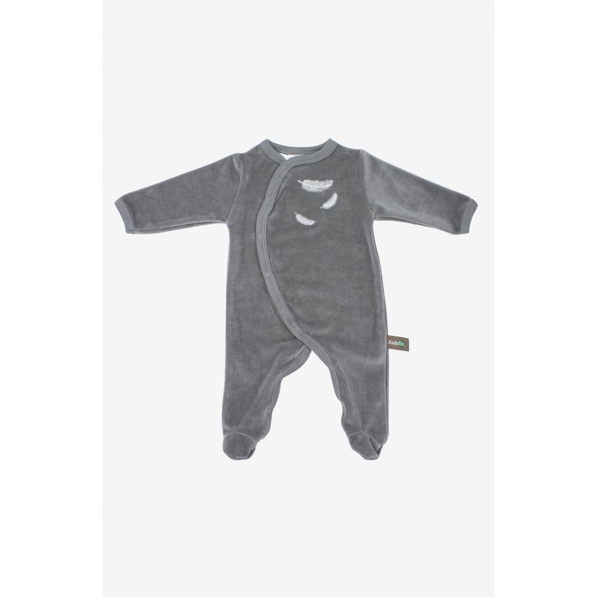 Pyjama bébé en coton bio à motifs plumes blanches