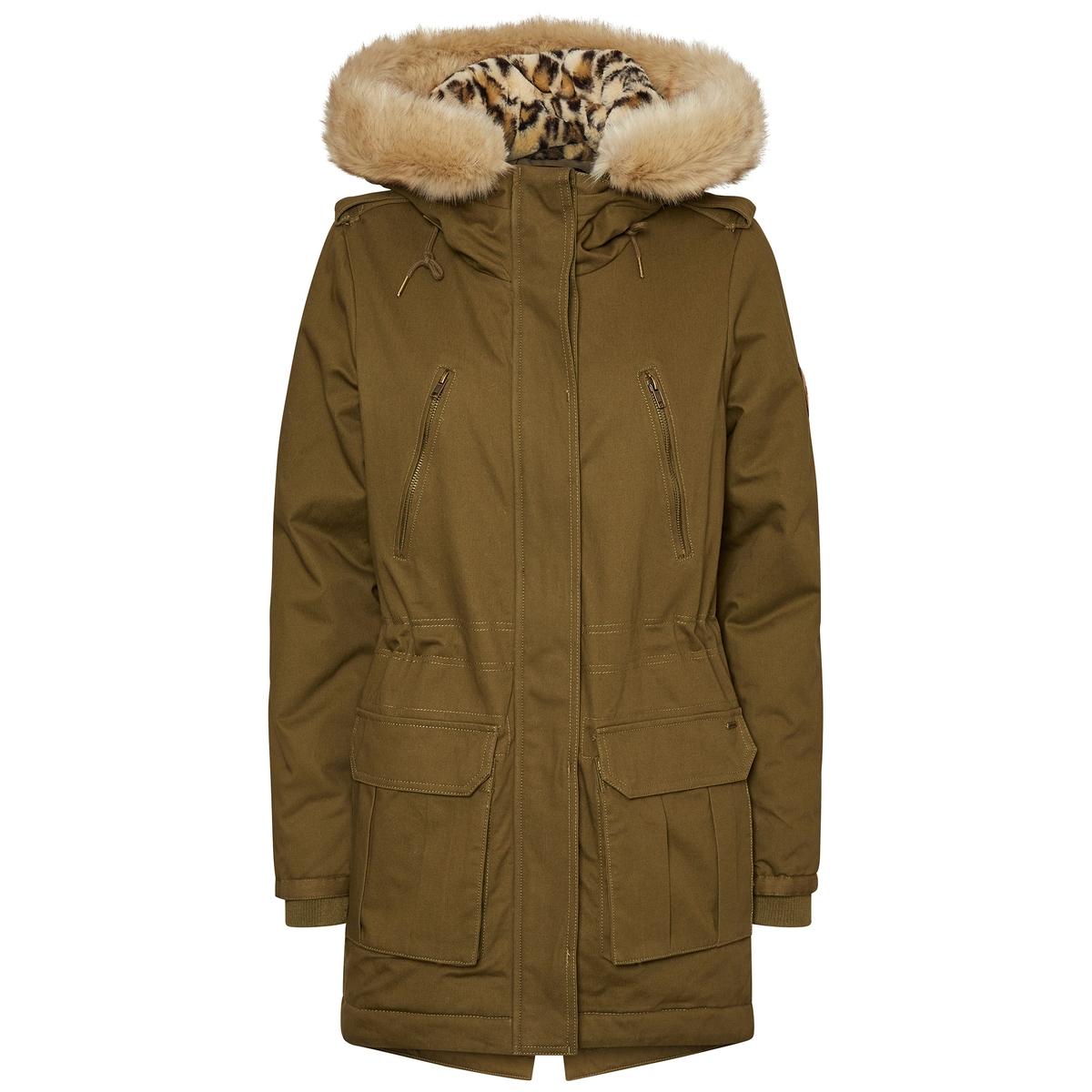 Пальто-парка с капюшоном средней длиныТеплое пальто в форме парки с капюшоном VERO MODA. Очаровательный капюшон на подкладке из мскусственного меха с леопардовым принтом.Детали •  Длина : средняя •  Воротник-стойка •  Застежка на молнию •  С капюшономСостав и уход •  100% хлопок •  Следуйте рекомендациям по уходу, указанным на этикетке изделияВысокий воротник. Супатная застежка на молнию и кнопки. 2 застежки на молнию на груди . 2 кармана с клапанами .<br><br>Цвет: хаки