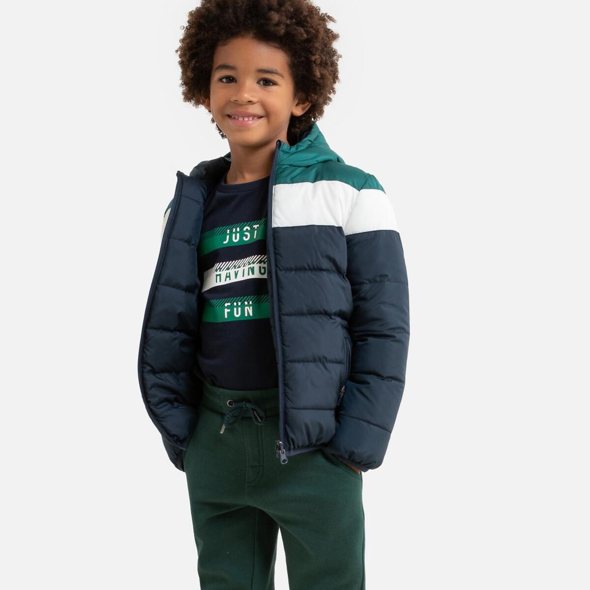 Двусторонняя LaRedoute Стеганая куртка с капюшоном 3-12 лет 12 лет -150 см синий куртка la redoute стеганая на молнии с капюшоном idaho 2 3xl синий