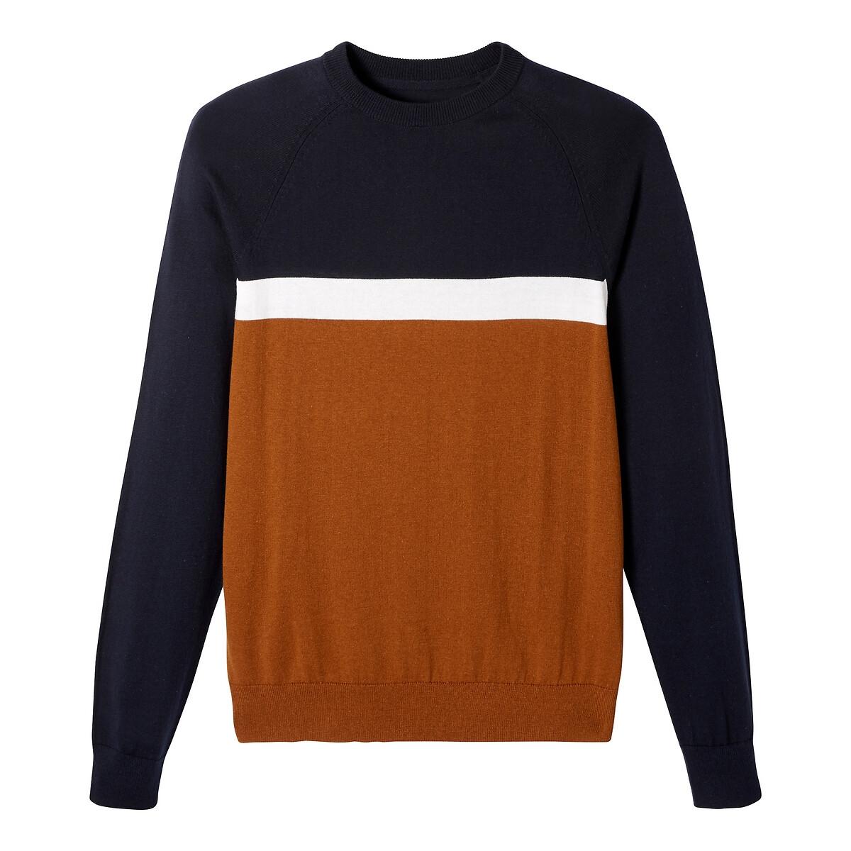 Пуловер La Redoute С круглым вырезом из тонкого трикотажа XL бежевый пуловер la redoute из тонкого трикотажа со шнуровкой l бежевый