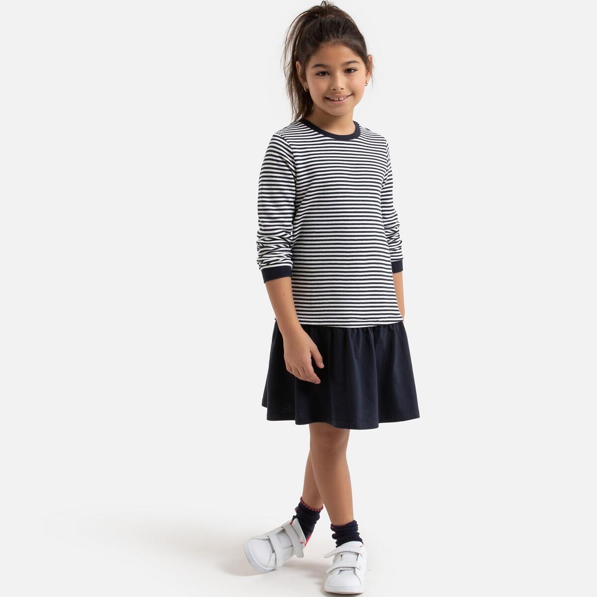 2 In 1 Breton Stripe Dress In Cotton Mix 3 12 Years