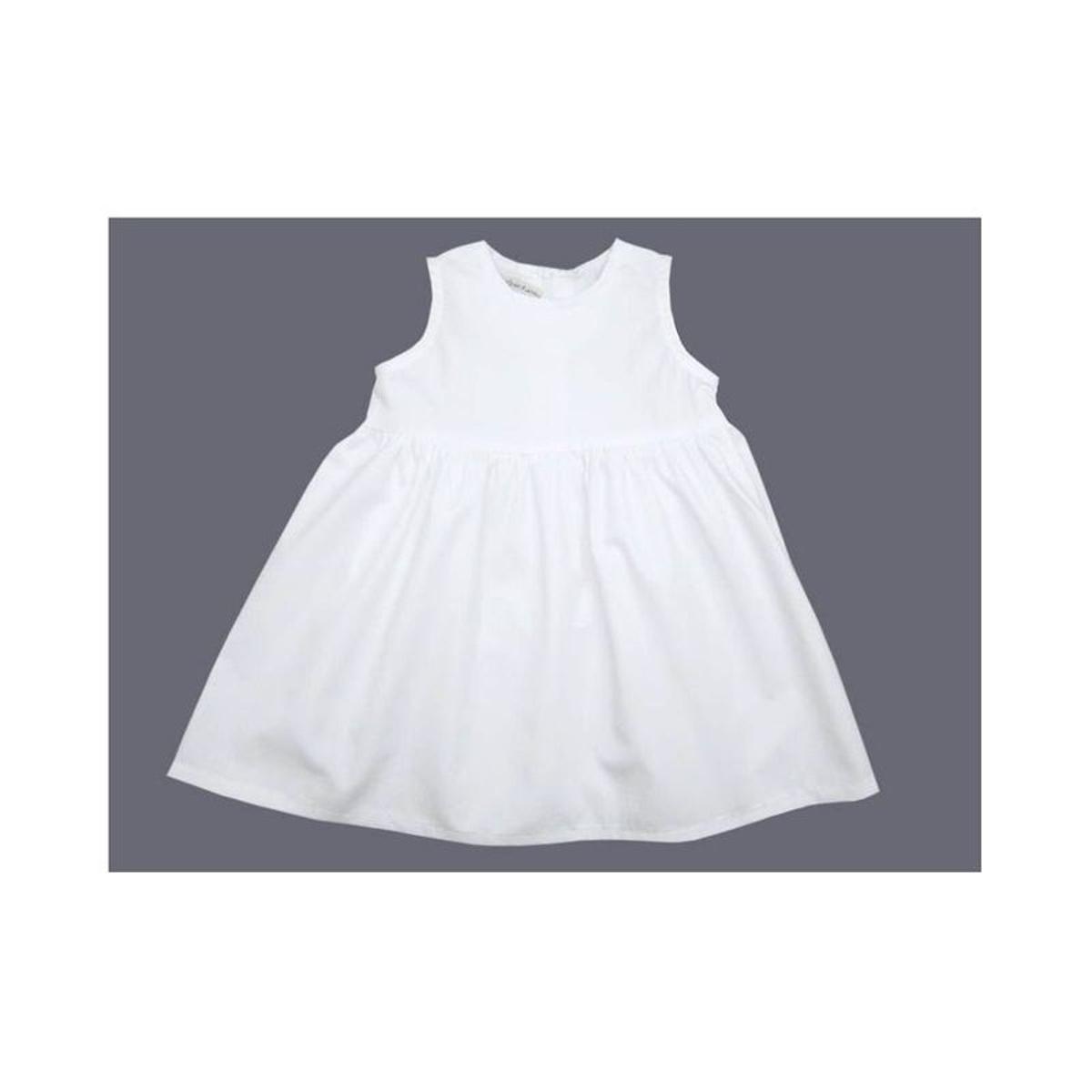 Tenue baptême fille, robe fille baptême blanche sans manches