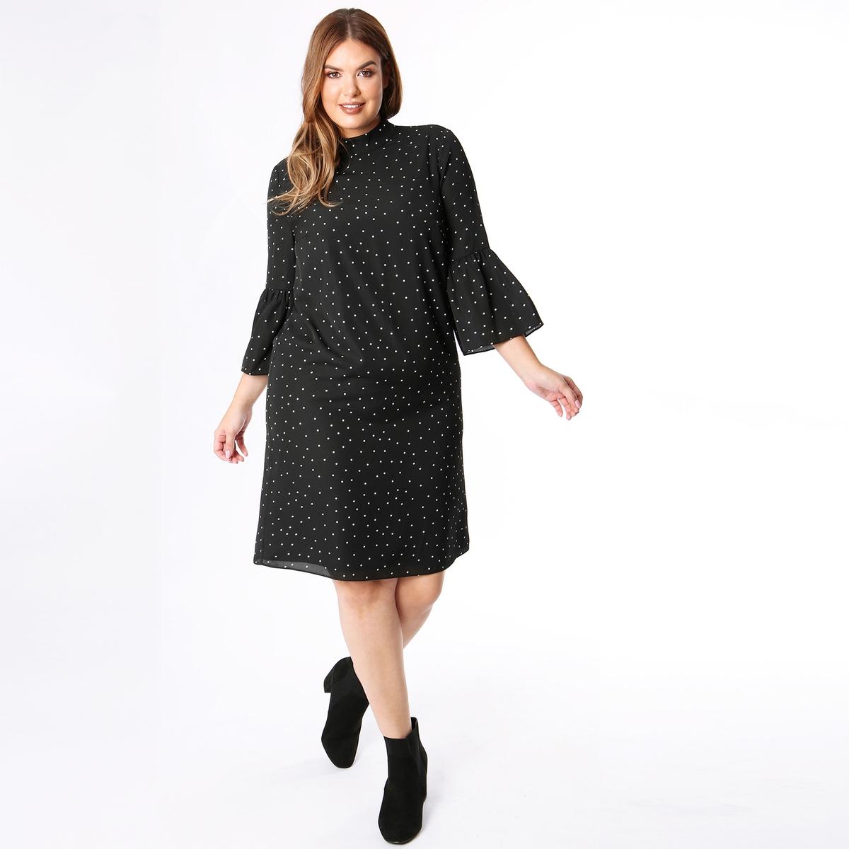 Платье La Redoute С воротником-стойкой рисунком и рукавами 46 (FR) - 52 (RUS) черный