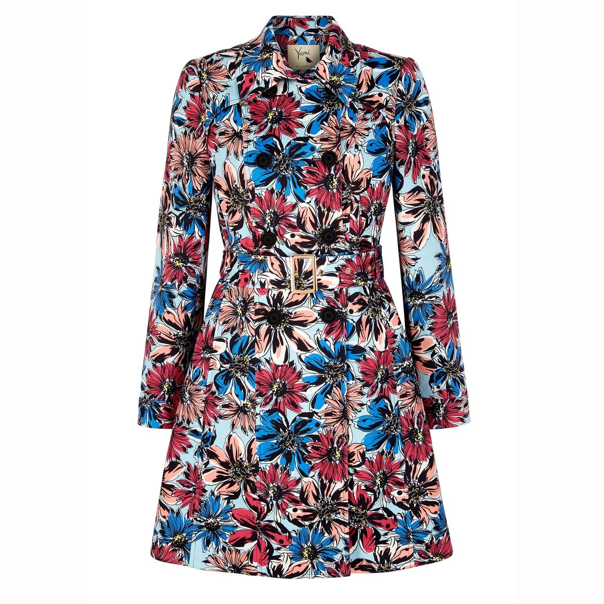 Пальто-тренч с цветочным рисункомСостав и деталиМатериал 100% полиэстераМарка YUMI<br><br>Цвет: разноцветный<br>Размер: 36 (FR) - 42 (RUS)