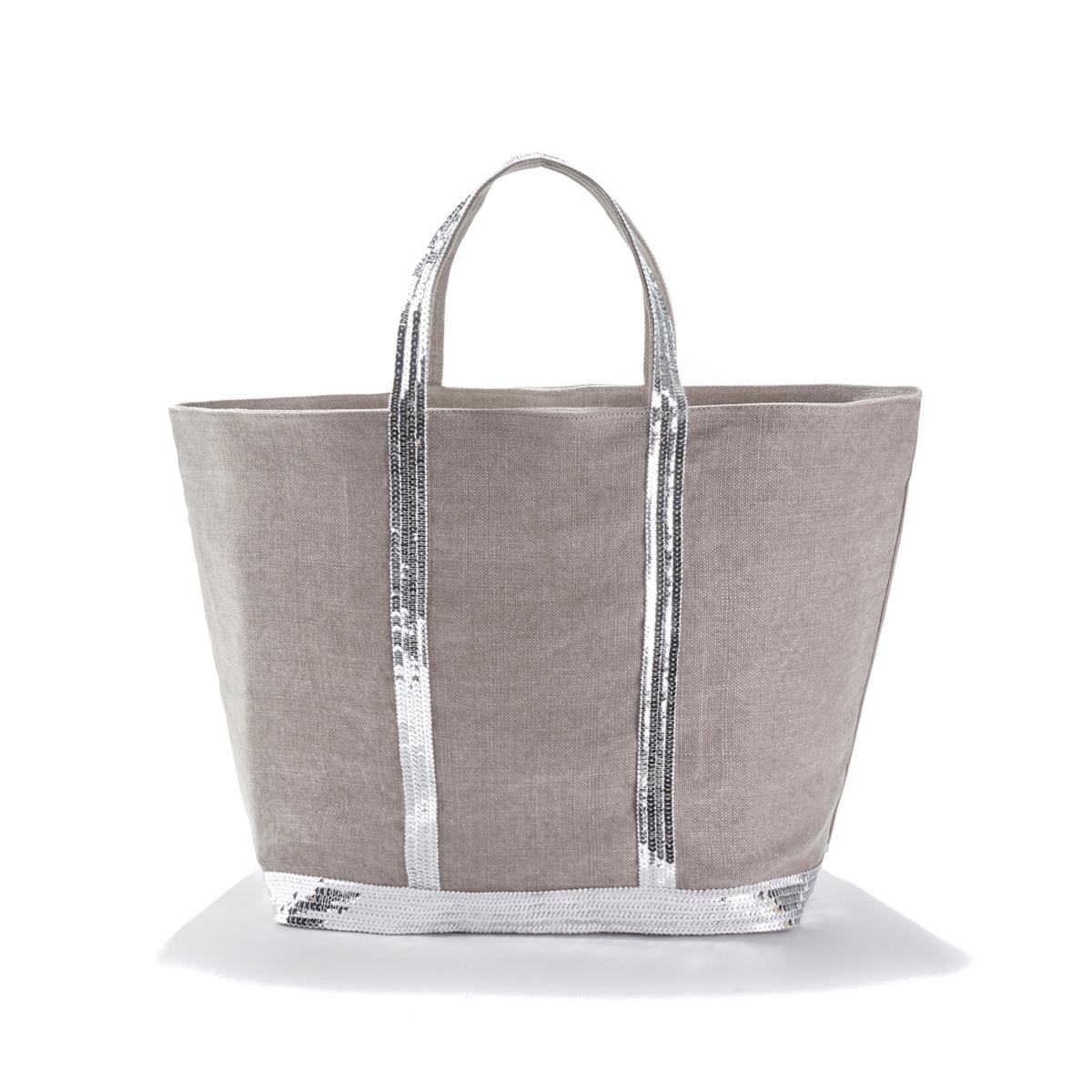 Фото - Сумка-шоппер La Redoute Среднего размера из льна с блестками единый размер серый сумка шоппер средняя из парусины с блестками