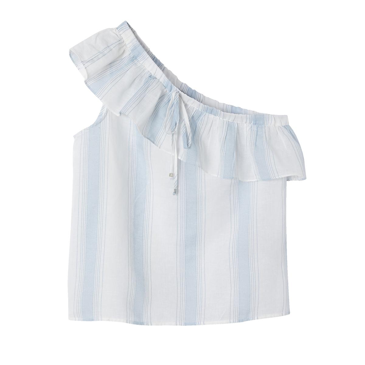 Блузка с асимметричной проймой без рукавов