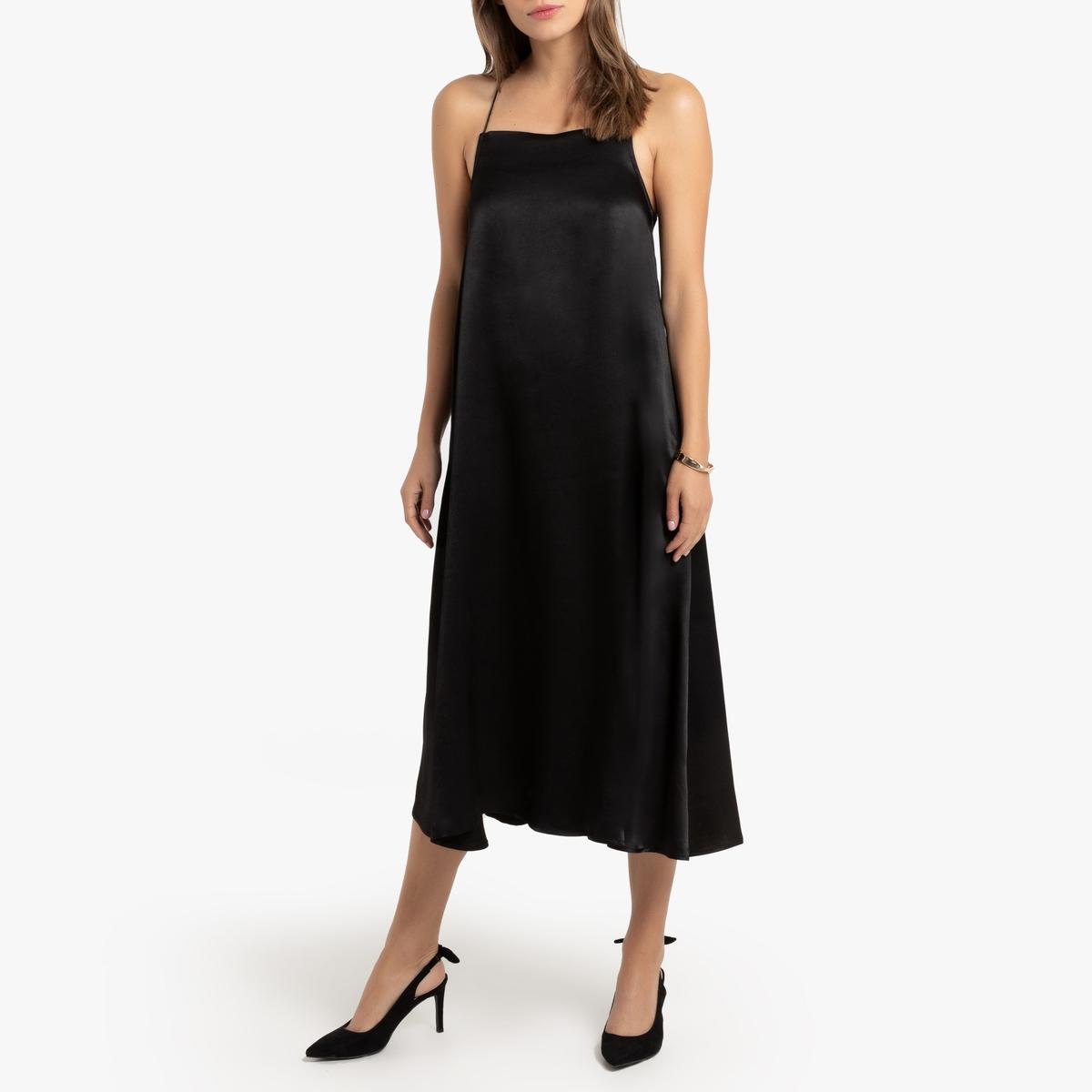 цена Платье La Redoute Расклешенное на тонких бретелях 38 (FR) - 44 (RUS) черный онлайн в 2017 году