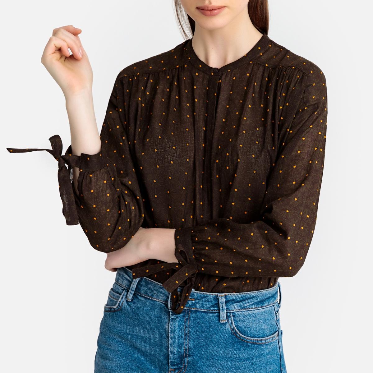 Блузка La Redoute С круглым вырезом рисунком в горошек и длинными рукавами 34 (FR) - 40 (RUS) фиолетовый блузка с круглым вырезом графическим рисунком и длинными рукавами
