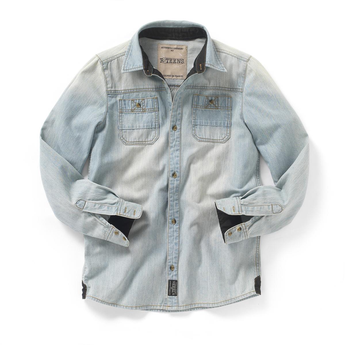 Рубашка джинсовая с длинными рукавами на 10-16 летРубашка с длинными рукавами, деним, 100% хлопка. Незаменима в этом сезоне! Манжеты и застежа на пуговицах. 2 нагрудных кармана. Потертости спереди и сзади.<br><br>Цвет: синий потертый<br>Размер: 16 лет - 174 см