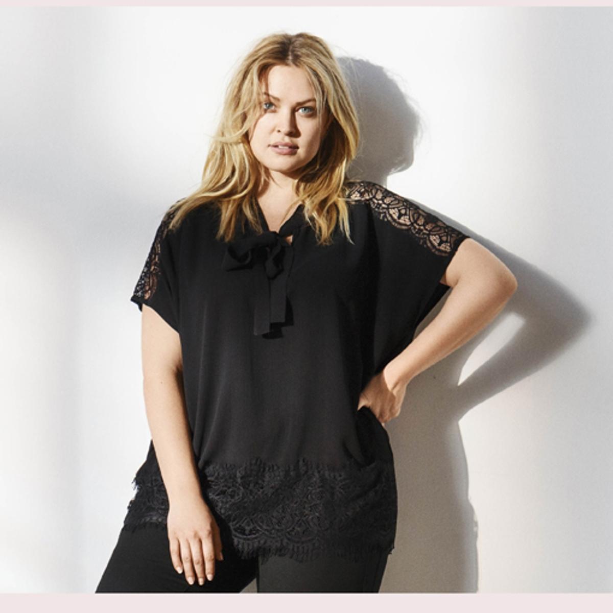 БлузкаБлузка ZIZZI. Симпатичная блузка с короткими рукавами, с завязками и  V-образным вырезом . Красивое кружево снизу и на рукавах . 100% полиэстера. Состав и описаниеМатериал : 100% полиэстераМарка : ZIZZI<br><br>Цвет: черный<br>Размер: 42/44 (FR) - 48/50 (RUS)