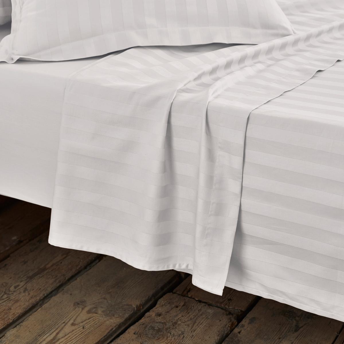 Простыня La Redoute Из хлопкового сатина с тканым рисунком в полоску 270 x 290 см белый цена