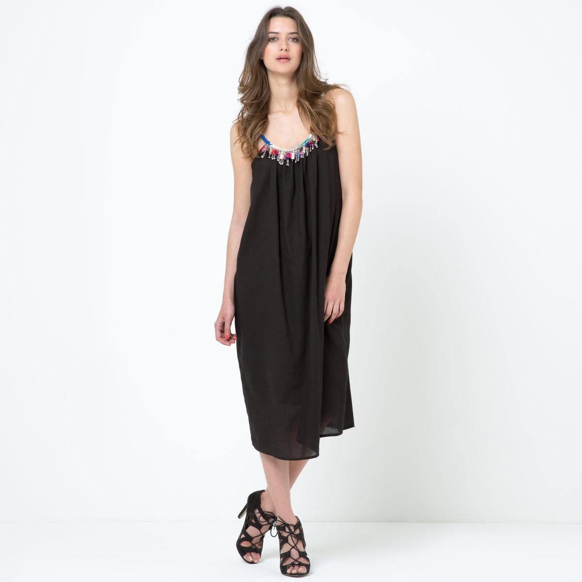Платье расклешенноеПлатье без рукавов Soft Grey. Креп, 100% хлопок. Широкий покрой. Карманы по бокам. Подкладка из 100% хлопка. Длина – 115 см.<br><br>Цвет: черный