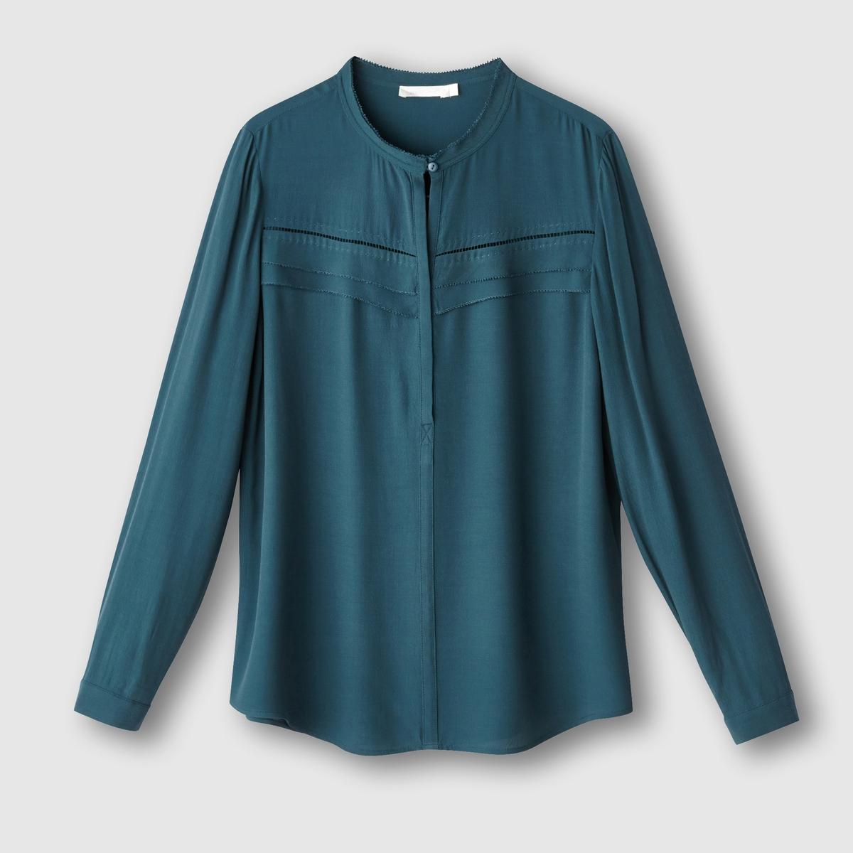 Блузка с длинными рукавамиСостав и описание     Марка :      SEE U SOON.     Материал  :     100% вискозы.          Уход     Машинная стирка при 30 °C     с вещами схожих цветов.<br><br>Цвет: черный<br>Размер: L