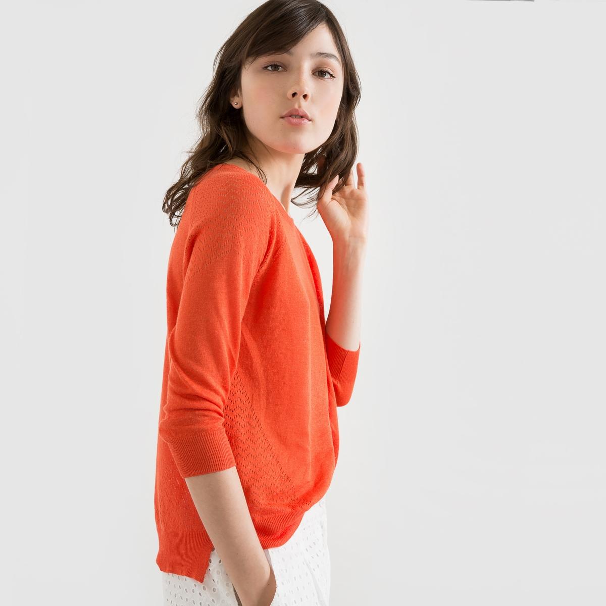 Пуловер из льна и вискозыСостав и описаниеМатериал          55% льна, 45% вискозы Длина       63 смУходМашинная стирка при 30 °С в деликатном режиме с вещами схожих цветов<br><br>Цвет: оранжевый<br>Размер: 42/44 (FR) - 48/50 (RUS)