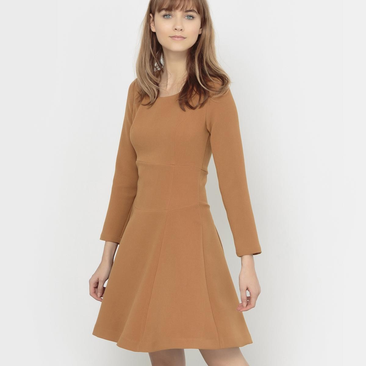 Платье расклешенное стеганое с длинным рукавом RIMMEL RIMMELСостав и описаниеМарка : KARL MARC JOHNМатериал :  70% полиэстера, 26% вискозы, 4% эластана<br><br>Цвет: темно-бежевый