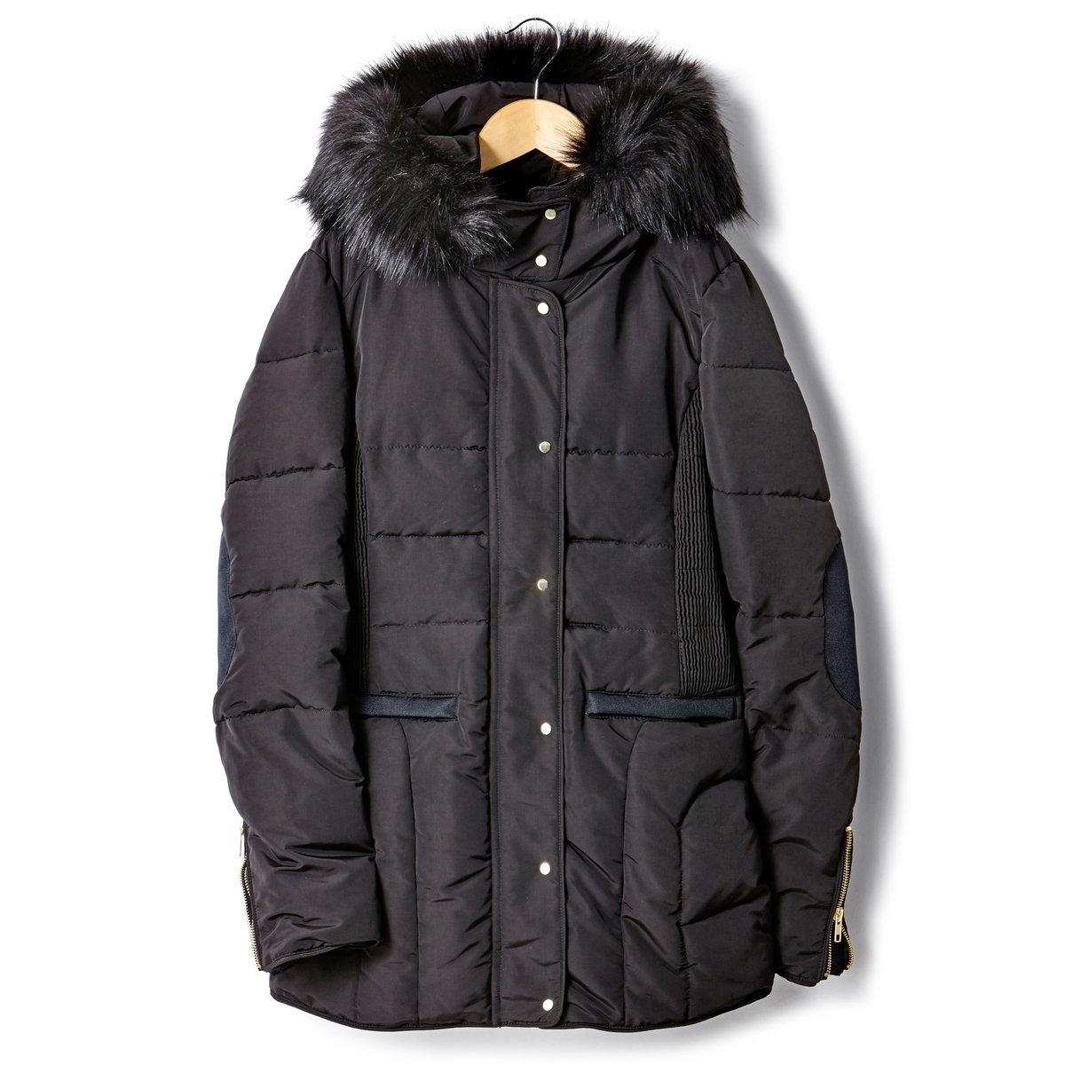 Куртка стеганая средней длины с капюшономКуртка стеганая средней длины с капюшоном, отороченным искусственным мехом. Супатная застежка на молнию и кнопки. 2 кармана и низ рукавов с застежкой на молнию, вставки на локтях. 100% полиэстера. Подкладка и утеплитель из полиэстера. Длина 75 см.<br><br>Цвет: карамель,черный<br>Размер: 38 (FR) - 44 (RUS).36 (FR) - 42 (RUS)
