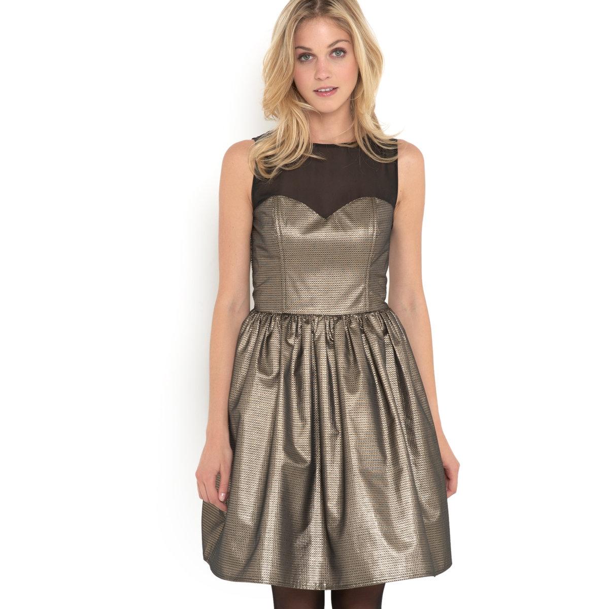 Платье с лифом без бретелек, Mademoiselle R.Платье-бюстье Mademoiselle R. Высокий лиф-корсаж из прозрачной вуали черного цвета с вырезом на спине. Пуговица вверху спинки. Задняя часть с оборками . Низ юбки из тюля. Застежка на скрытую молнию сбоку . 70% полиэстера, 20% металлизированных волокон, 5% хлопка, 5% других волокон. Длина 90 см .<br><br>Цвет: серый  черный<br>Размер: 38 (FR) - 44 (RUS).36 (FR) - 42 (RUS).40 (FR) - 46 (RUS)